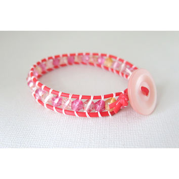 Pink and Orange Crackle Glass Red Wrap Bracelet - Single Wrap - Pink Vintage Button