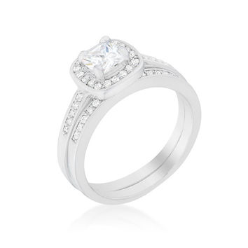 Grable Cushion Cut  Engagement and Wedding Ring Set | 2ct | Cubic Zirconia | Silver