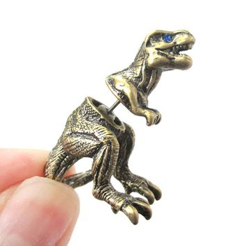 Fake Gauge Earrings: Realistic Tyrannosaurus T-Rex Animal Shaped Faux Plug Stud Earrings in Brass