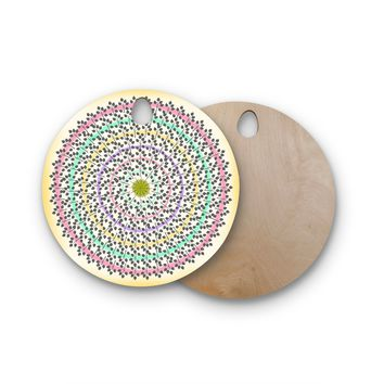 "Famenxt ""Leafy Watercolor Mandala"" Pastels Abstract Round Wooden Cutting Board"