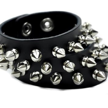 "3 Row Spike Split Black Leather Wristband Bracelet 2-1/2"" Wide"
