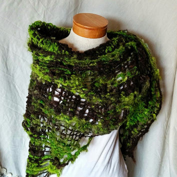 Hand spun shawl Neon green black hand knit wrap Hand felted funky rough spun wool cape Goth Primitive scarf