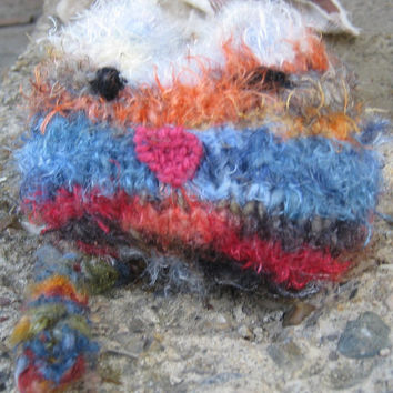 Hand knit cat small  toy plush strippy