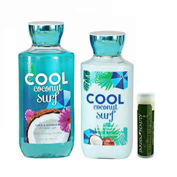 Bath & Body Works Cool Coconut Surf Body Lotion 8 oz. & Cool Coconut Surf Shower Gel 10 oz. Gift Set With A Jarosa Bee Organic Natural Peppermint Lip Balm