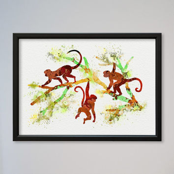 Monkey FRAMED Watercolor Print Watercolor Picture Illustration Art Watercolor Animal Art Poster Nursery Art Three Monkeys On A Branch