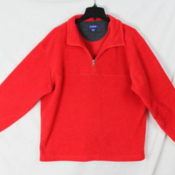 J Crew Fleece L size 1.4 zip Sweater Mens Red Soft Easy Wear Pull On Jacket