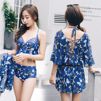 New butterfly print Sunscreen Three-piece swimsuit Sexy Push Up bikini swimwear Beach high waist women's swimming suit