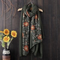 Army Green Boho Ethnic Exotic Shawl Cape Embroidered Scarf
