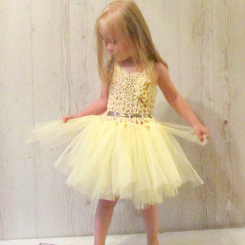 Yellow flower girl dress, crochet tulle dress, ivory and light yellow baby dress, tulle dress,