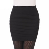 Cheapest Free Shipping New Fashion 2016 Summer Women Skirts High Waist  Candy Color Plus Size Elastic Pleated Short Skirt