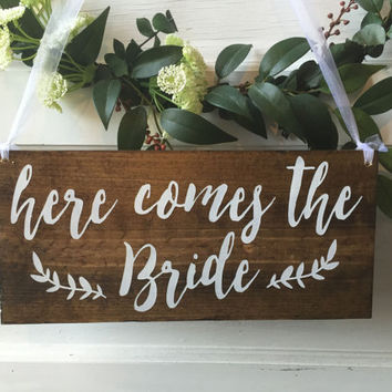 Here comes the Bride  - ring bearer sign -  rustic wedding signage - rustic sign -  rustic wooden sign - custom wood sign - stain wood - 01