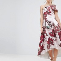 ASOS Floral One Shoulder Foam Scuba Dip Back Midi Skater Dress at asos.com