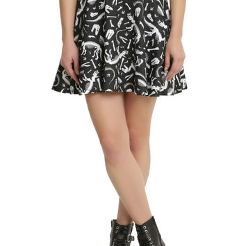 Black & White Dinosaur Skater Skirt