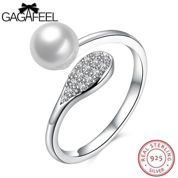 GAGAFEEL Simulated Shell Finger Rings Sterling Silver Ring
