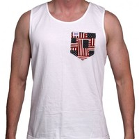 The Betsy Unisex Tank Top in White with American Flag Pocket by the Frat Collection