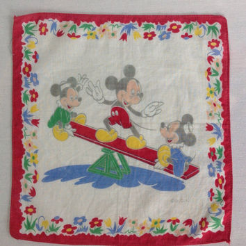 Vintage Child's Mickey Mouse Handkerchief Disney