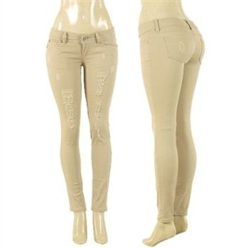 NWT KHAKI DISTRESSED SKINNY Jeans DESTROYED STRETCH BEIGE Low Rise sz 1 - 13