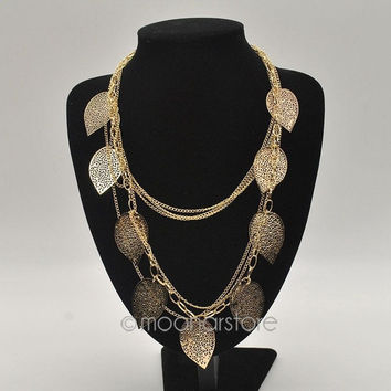 Women's Fashion Bohemian Necklace Vintage Leaves Multi-layer Alloy Bohemia Long Necklace Silver Gold Pendant Chain Fashion Jewelry