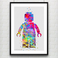 LEGO Man Watercolor Print, Baby Boy Nursery Bedroom Wall Art, Children's Gift Idea, Minimalist Home Decor, Not Framed, Buy 2 Get 1 Free!