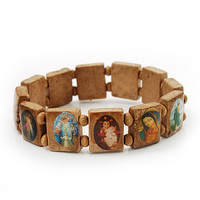 Light Brown Wooden Religious Images Catholic Jesus Icon Saints Stretch Bracelet - up to 20cm length - avalaya.com