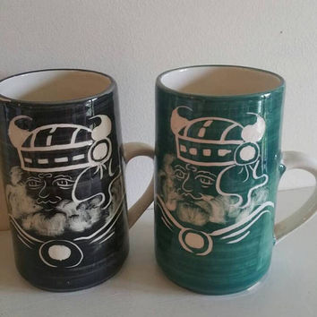 RUSHTON Pottery isle of Man 1970s pair of studio pottery mugs black and green Viking warrior /gents gift /man cave/ships worldwide from UK