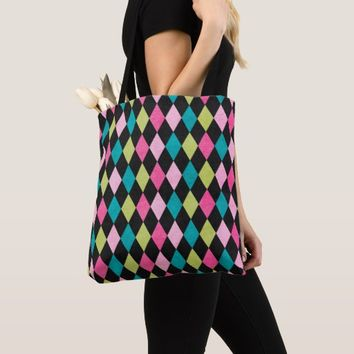 Colorful Plaid Design All-Over-Print Tote Bag