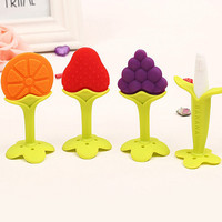 Baby Teether Silicone Fruit Shape Baby Toys 2016 Brand New Baby Dental Care Toothbrush Training Silicone Baby Teether