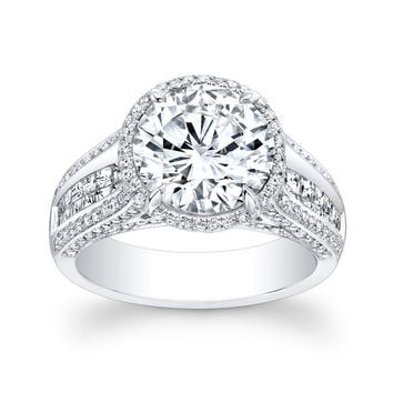 Ladies Platinum pave diamond and princess channel engagement ring with 2ct Round White Sapphire Center