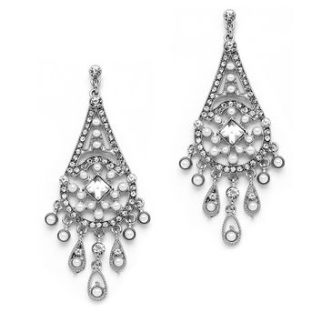 Art Deco Bridal Chandelier Earrings with Inlaid Dainty Pearls 4251E