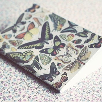 Vintage Butterflies illustration notebook. A7 sketch notepad.Mini / Small Notebook. Snail mail gift