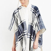 Frayed Plaid Poncho