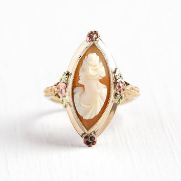 Vintage Cameo Ring - 10k Rosy Yellow Gold Navette - 1930s Art Deco Size 6 1/2 Carved Marquise Shell Female Silhoutte Fine Jewelry