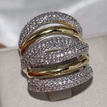 Vintage Jewelry 14Kt WhiteGold Filled Pave Setting Clear 5A Zirconia Party Women Wedding Band Wide Finger Ring