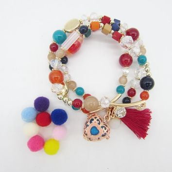 The Latest Model 3 Strands Beautiful Glass Beads Combo Stretchy DIY Oil Diffuser Locket Bracelet