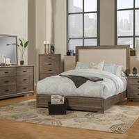 Alpine Camilla Standard King Panel Bed with Upholstered Headboard and Nailheads