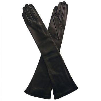 Elbow Length Leather Gloves. Italian Made Silk Lined, 12-button   (NSP)