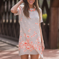 Falling Flowers Dress, Taupe