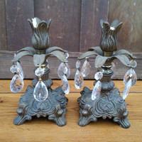 Vintage Brass Victorian Hollywood Regency Candle Holders With Glass Prisms Loevsky Style