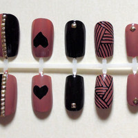 Dusky Pink and Black Fake Nails with Stripes, Love Heart and Gold Studs Nail Set