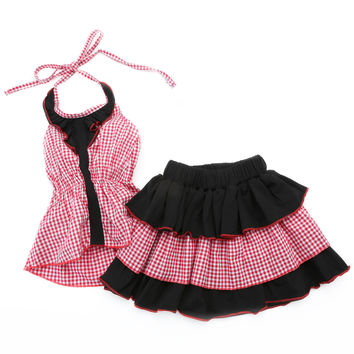 Little Girl's Red and Black Gingham Top and Skirt Set