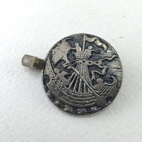 Antique Cape Button, Viking Ship, Large Button with Picture, Sail the Sea, Collectible