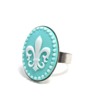 Fleur de Lis Ring  Tiffany Blue and White  by GalvestonTradingCo