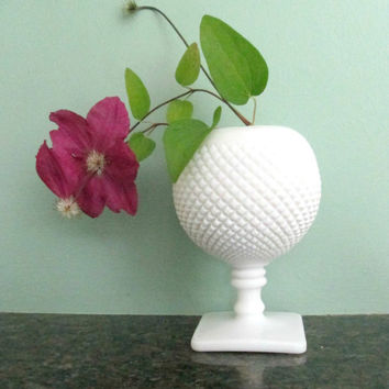 Milk Glass Hobnail Vase / 1960s White Milkglass Footed Ball Home Decor Accent