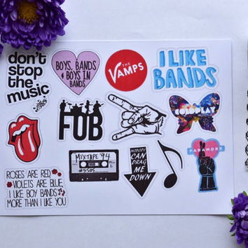 Band addict stickers laptop sticker iphone sticker music stickers fall out boy