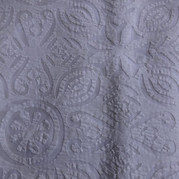 Twin Applique Bedding India, Hand Made Bedspread, Cutwork Bedspread, White Color Single size hand made bedspread, Traditional Art India