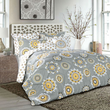Plush Gray Yellow Geometric Medallion 7 Piece Comforter Set in Full/Queen