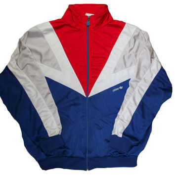 Vintage 80s Adidas Red/White/Blue Track Jacket Mens Size Large