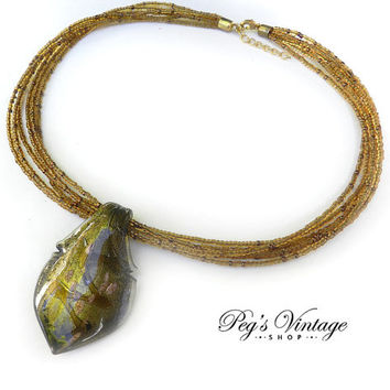 Vintage Fused Glass Pendant Seed Bead Necklace, Gold Green Glass Necklace