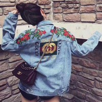 ONETOW Gucci Fashion Flower Rose Embroidery Denim Jacket Coat