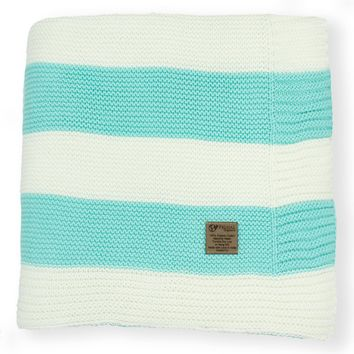 Aquamarine & Cream Stripe Knit Organic Cotton Blanket